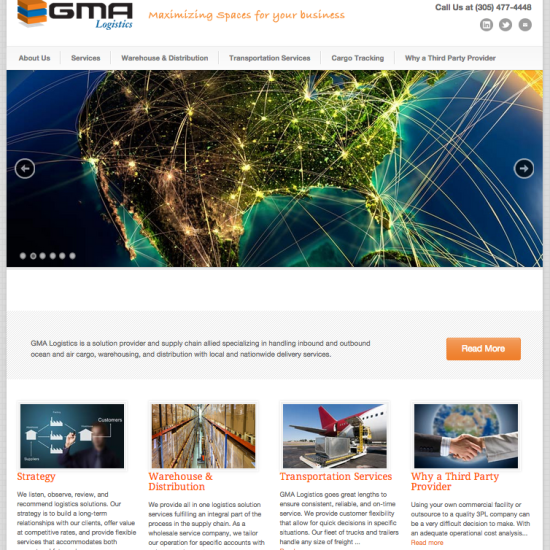 GMA Logistics website design miami