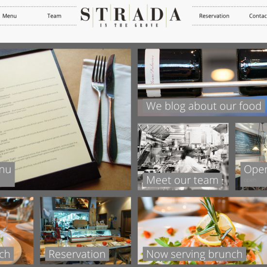 Home page of STRADA in the Grove Website design